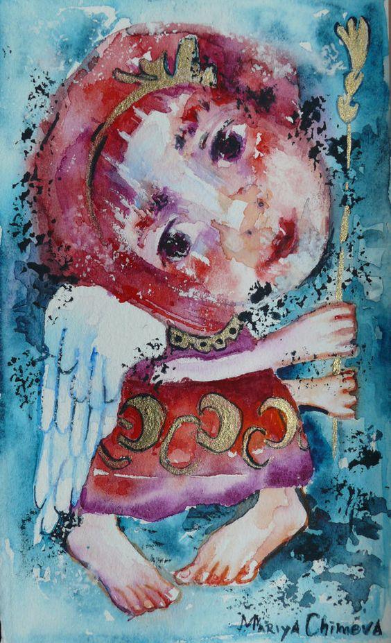 fantasy mini angel painting, Folk art painting, angel painting, Whimsical art, Primitives, abstract angel, Original art, Angel Folk art painting, folk angel painting, naive art, primitive painting, folk art by Mariya Chimeva