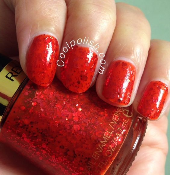 Revlon: ☆ Confident ☆ ... a Red shimmer jelly nail polish with multi sized red hex glitter and bar glitter, from the Bohemian Collection 2014