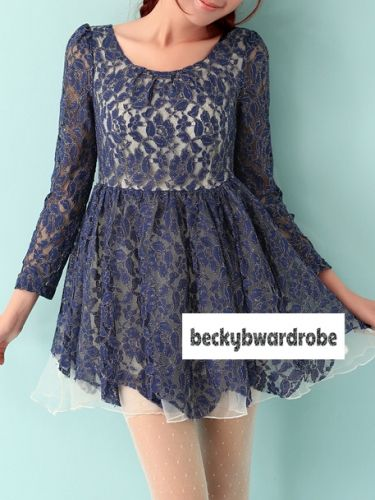 Dreamy Lace Dress - Navy