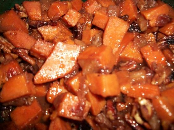 Crock Pot Sweet Potatoes & Cranberries With Toasted Pecans