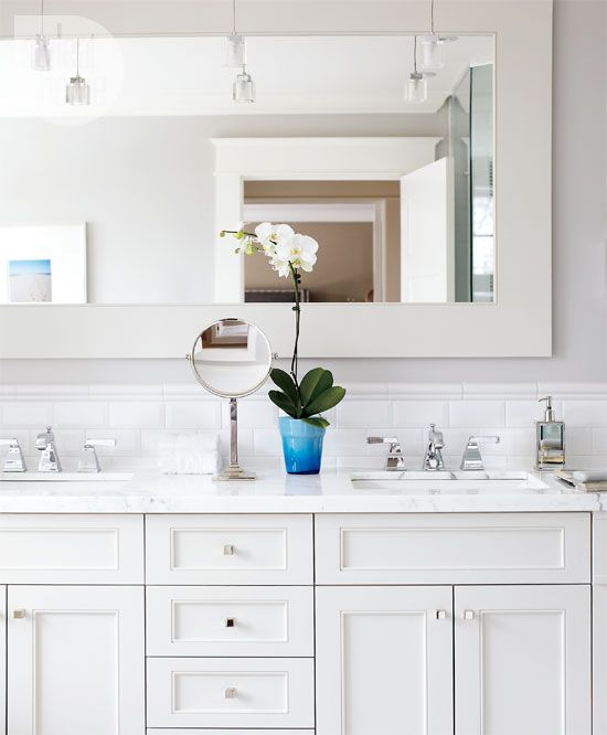 Bathroom marble vanity tops style and vanities - Bathroom subway tile backsplash ...