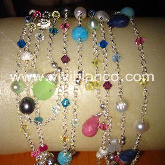 Brazalete/Collar en plata, perlas y piedras semipreciosas. Curso de Joyería de ViviBlanco