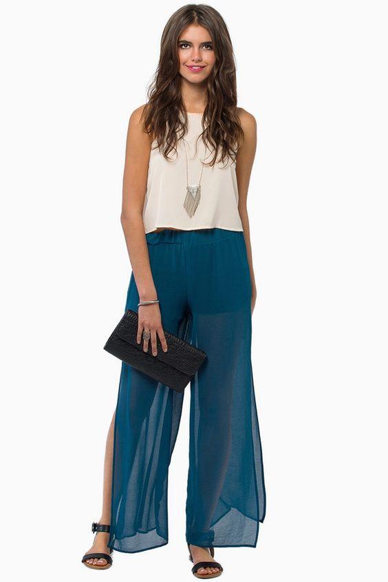 Blue sheer palazzo pants