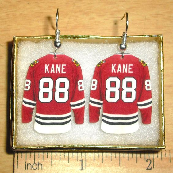 Patrick Kane Chicago Blackhawks Hockey Jersey Earrings. $7.99, via Etsy.