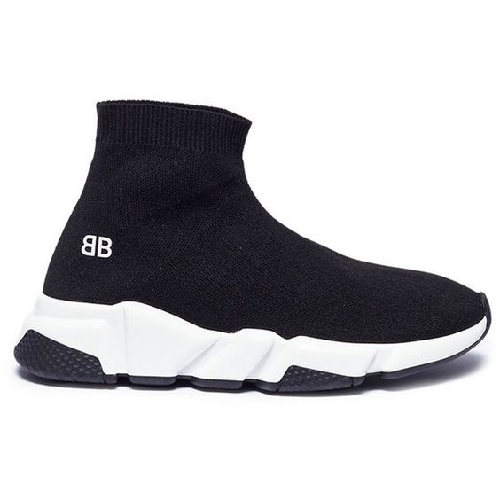 Balenciaga Speed Double B Logo Print Slip On Knit Kids Sneakers