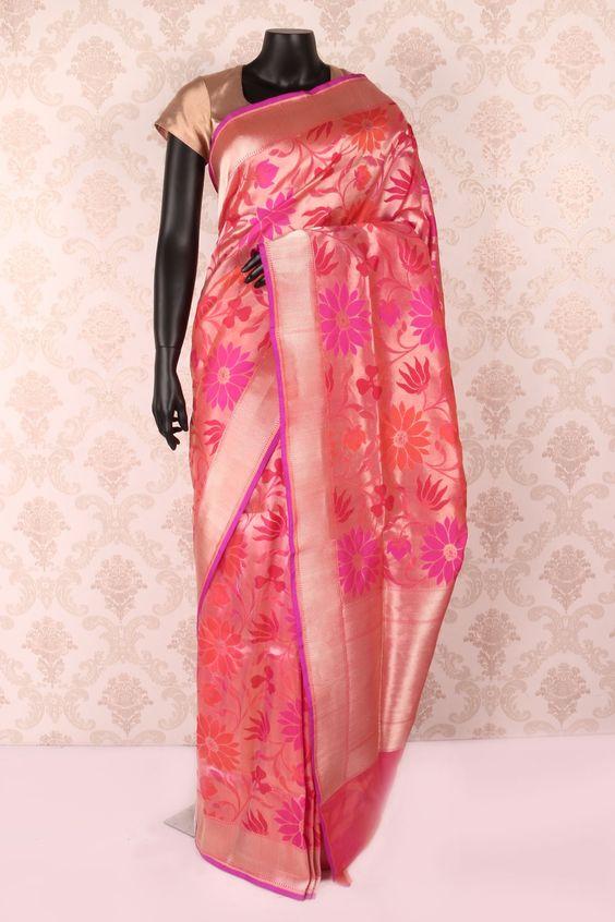 #Gold multicoloured pure banarasi silk #stylish #saree with hot #pink & antique gold border -SR12076