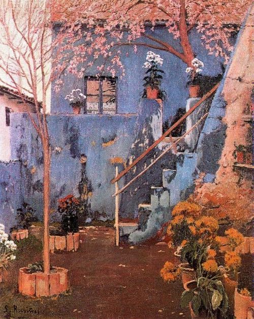 Santiago Rusiñol - Blue Patio in Sitges: