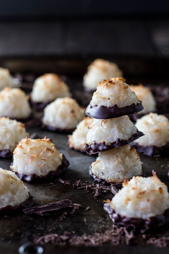 Chocolate-Dipped Coconut Macaroons-gluten free!
