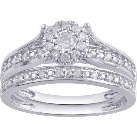 Online 1 3 Carat T W Diamond Composite 10kt White Gold Bridal Set Walmart Com White Gold Bridal Set Diamond Bridal Sets White Gold