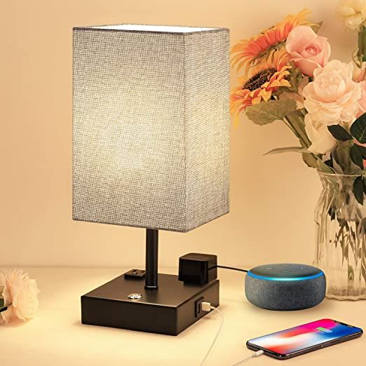 Touch Table Lamp With 2 Usb Charging Ports And 2 Ac Outlets 3 Way Dimmable Touch Lamp Bedside Lamp Grey Nig Touch Table Lamps Bedroom Lamps Bedside Lamps Grey