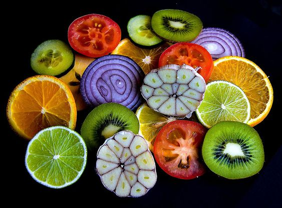 Fruits and vegetables painted on stones:
