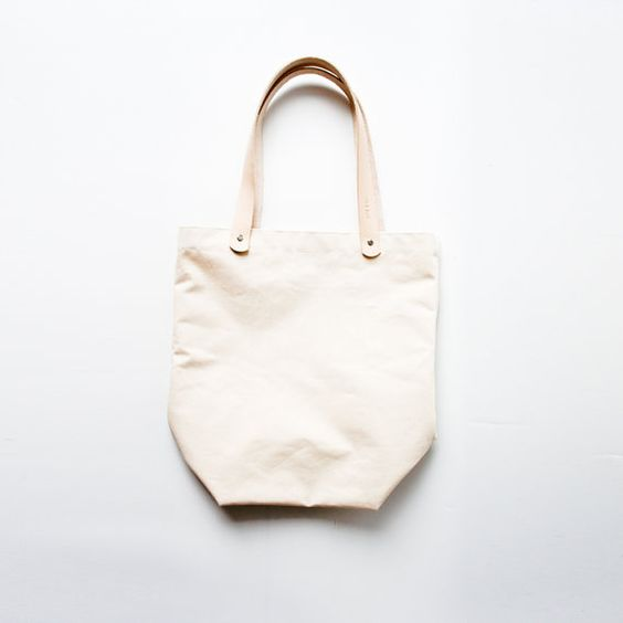 raw canvas tote, natural leather from rib & hull