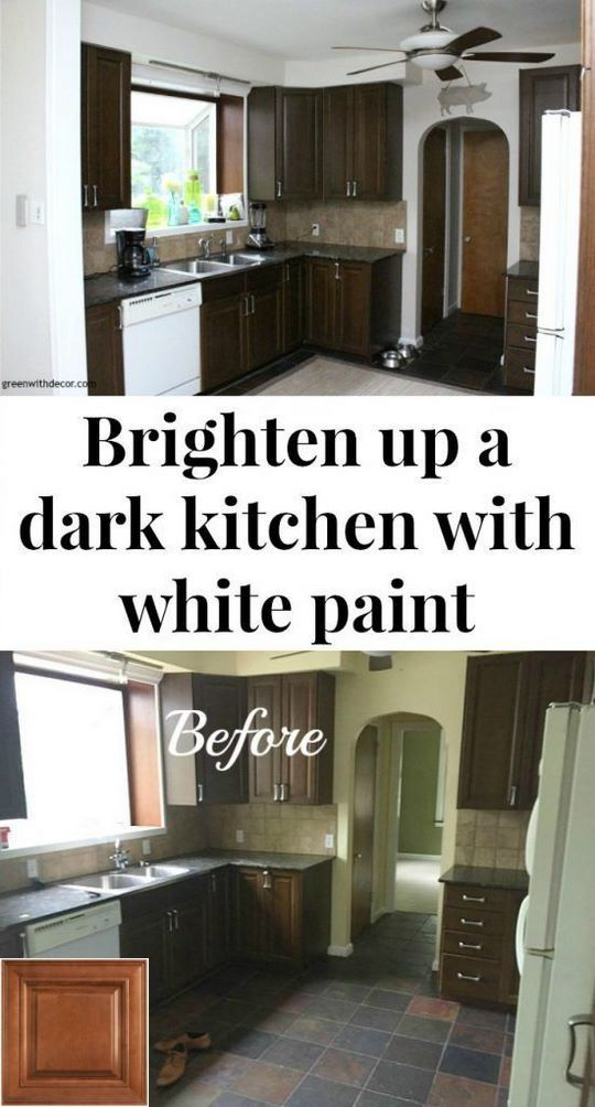How To Brighten Up A Dark Kitchen Without Painting Types Of Kitchens With Oak Cabinets And Oak Flooring Oakkitchencabinets Cabinets Brown Kitchen Tiles Kitchen Cabinet Design Dark Brown Cabinets