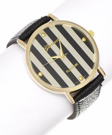 This Black Stripe Watch is perfect! #zulilyfinds $12.99