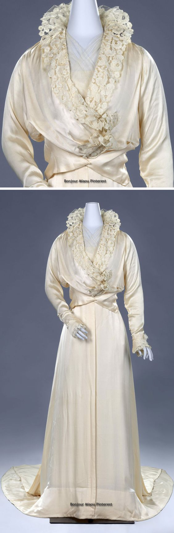 Wedding dress with standing collar, Hirsch, 1915. Silk crepe de chine bolero-type bodice trimmed with bobbin lace with v-neck and gauzy cotton tulle modesty. Closes in front with metal snaps and lined with silk pongé, which closes with hooks & eyes. Flaired, weighted skirt with train. Rijksmuseum
