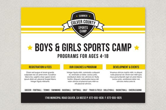 sports camp brochure template - activities flyer template and camps on pinterest
