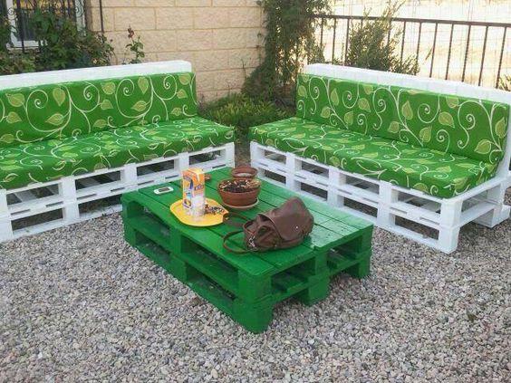 Muebles para el jardín, hecho de palets  Muebles con palets