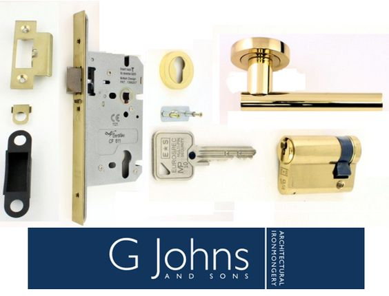 Our Eurospec DIN Style Anti-Thrust Mortice Night Latch - Complete Set - Supplied With Handles & Cylinder - Polished Brass