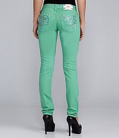 Miss Me Jeans FloralEmbroidered Colored Skinny Jeans #Dillards I'm getting these