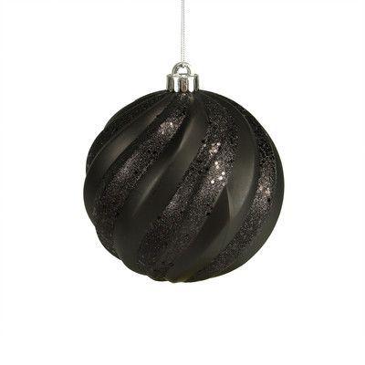 Northlight Glitter Swirl Shatterproof Christmas Ball Ornament Color: Jet Black