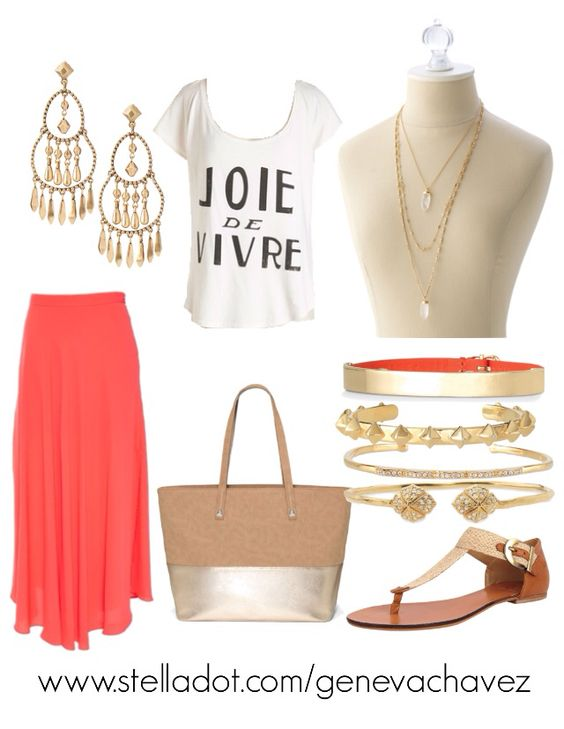 I love the look of the arm party with a simple graphic tee over a maxi skirt! Get the look at www.stelladot.com/genevachavez
