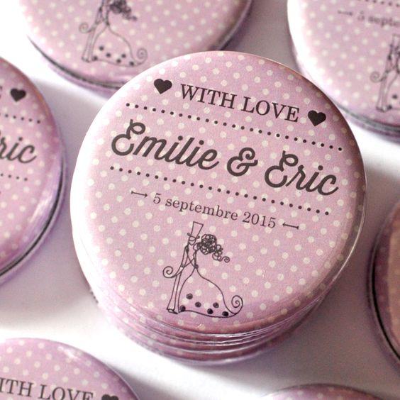 bulles de neige badges personnaliss evjf mariage anniversaire magnets faire part - Badges Personnaliss Mariage