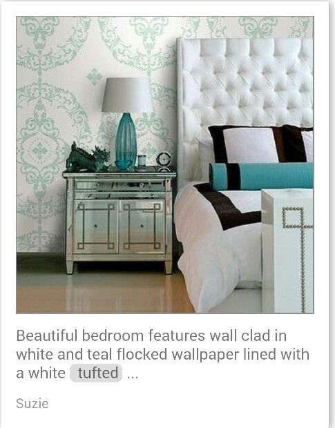 White and turquoise bedroom