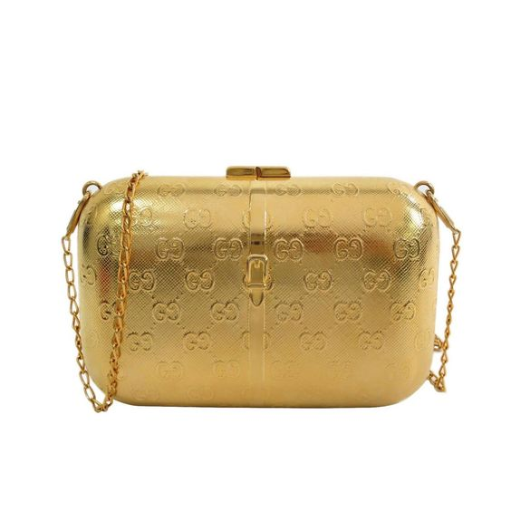Chanel Gold Tone Metal Minaudière Chain Shoulder Bag Clutch | 1stdibs.com
