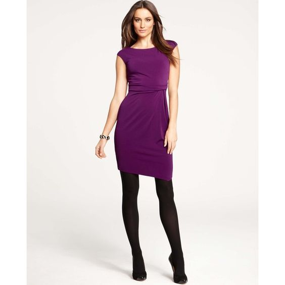 Ann Taylor Petite Asymmetric Cap Sleeve Dress ($60) ❤ liked on Polyvore