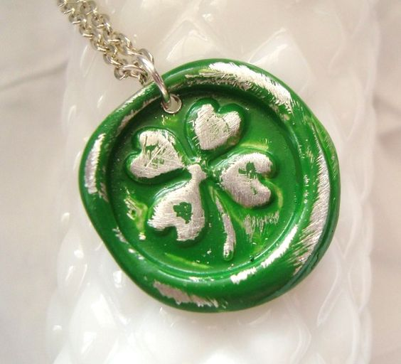 Four Leaf Clover Wax Seal Stamp Necklace