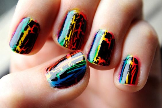 Rainbow Manicure with OPI Shatter
