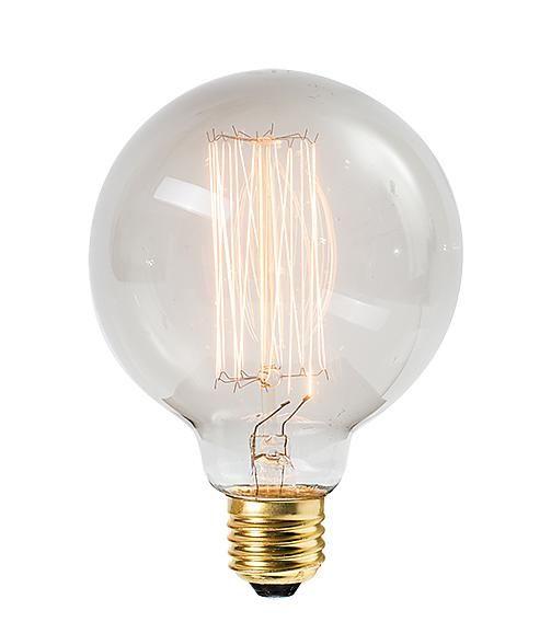 Het Lichtlab Globe 95mm Kooldraadlamp 40w E27 230v Rookglas Globe Lamps Bulb Vintage Light Bulbs