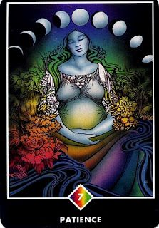Patience - the art of letting life carry you, to await in certainty. From the Osho Zen tarot.