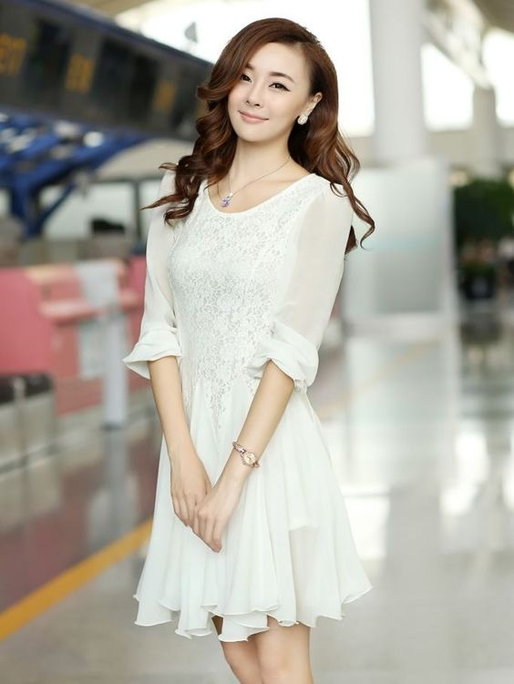 New Arrival Autumn Lace Patch Long Sleeve Chiffon White Dress long ...