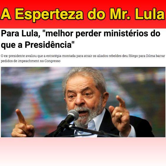A Esperteza do Mr. Lula ➤ http://www.noticiasaominuto.com.br/politica/140330/para-lula-melhor-perder-ministerios-do-que-a-presidencia ②⓪①⑤ ⓪⑨ ②④ #ILoveLula