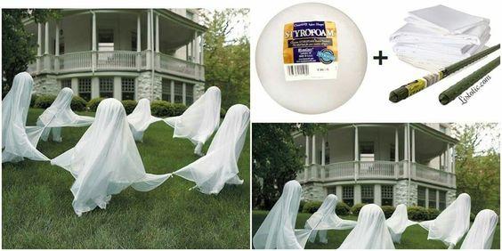 Bola de espuma de poliestireno Estaca de jardín color blanca o verde Gasa o tela blanca atados de las esquinas