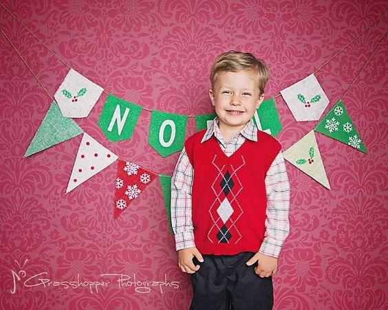 Christmas Burlap Banner NOEL with Mistletoe / Christmas Photography Prop / Christmas Bunting Mantel Decor / Hostess Gift. $28.00, via Etsy.