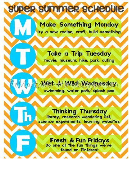 Super Summer Schedule: Summer Idea, Kids Summer, Schedule Idea, Good Ideas, Fun Idea, Summer Activities, Summer Fun, Summer Schedule