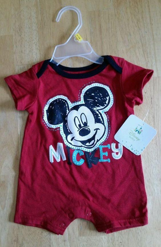 0-3 month #baby boy girl mickey cartoon red jumper romper onsie cute unisex nwt from $6.75