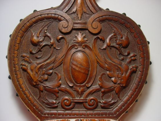 Fine Antique Black Forest Carved Walnut Wooden Bellows W