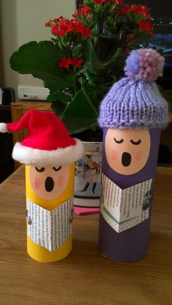 Adorno Navidad con rollos de papel WC: