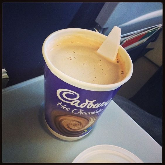 Cadbury hot chocolate on board an Aer Lingus flight from London to Dublin, wasn't the best but as good as you can get at 33,000 feet!