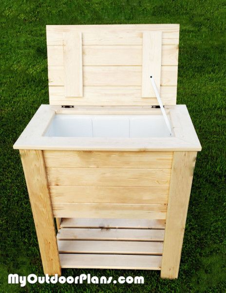 Wood cooler diy wood and coolers on pinterest for Table with cooler in middle