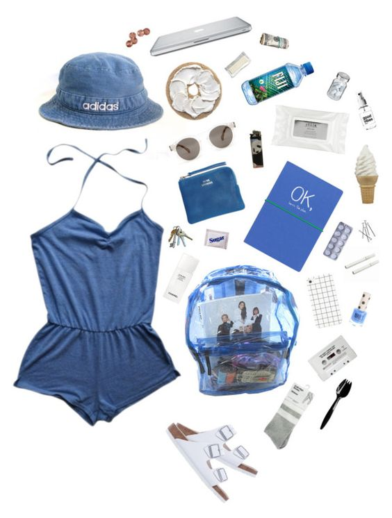"""there's a blue light in my best friends room"" by okemmaok ❤ liked on Polyvore featuring adidas, American Apparel, Wild & Wolf, Acne Studios, Birkenstock, Stila, Chanel, Illesteva, Topshop and Coppertone"