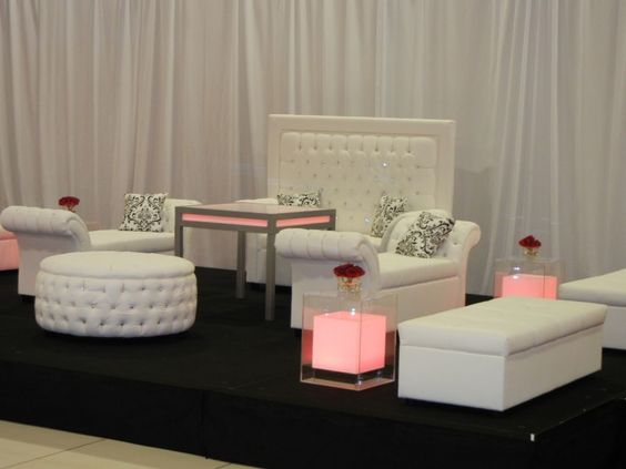 Crystal Ottoman, Crystal Loveseat, Club cafe table, Whisper Bench ottoman, and Crystal Bench