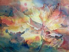 Herbstfarben (Thomas Habermann) Tags: leaves watercolor herbst geburtstag gift present watercolour blatt birthdaygift geschenk aquarell geburtstagsgeschenk ahornblatt weihnachtsgeschenk