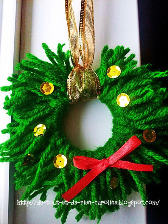 De tout et de rien: Activités pour le Préscolaire: Couronne de Noël de laine