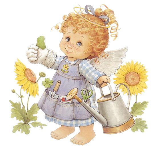 Cute Angel Gardener with Watering Can Free PNG Clipart