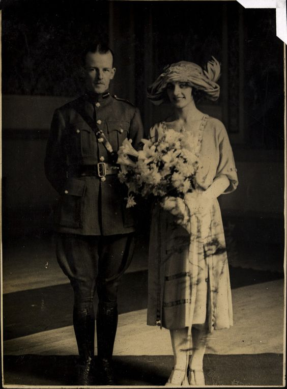 When I selected this from the archive I thought I recognised the man but I was not sure. Now getting the photo ready to post I see the following from the archive  Photographic print of Major General Emmet Dalton and his new bride on their wedding day. They were married in October 1922. Title taken from inscription written on mount under print .  It tends to confirm my guess, what do you think?   Photographer: W. D. Hogan  Collection:  Hogan Wilson Collection  Date: October 1922  NLI Ref…