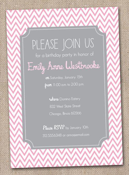 Gray and Pink Chevron Stripes Birthday Party Invitation